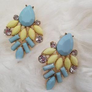 Blue yellow earrings